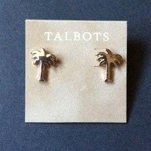 NIP Talbots Gold Tone Palm Tree Earrings